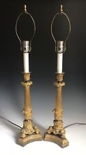 A Pair Of Antique French Ornate Gilt Bronze Candlestick Lamps