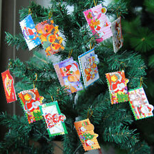 12Pcs Christmas Mini Greeting Cards Diy Blessing Christmas Tree Hanging Ornam_S!