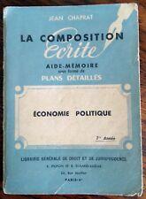 LA COMPOSITION ECRITE,  ECONOMIE POLITIQUE . aide-mémoire plans détaillés