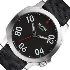 PRE-OWNED $185 Nixon Ranger 45 Nylon Black Men's Stainless Steel Watch A514008