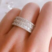4 Ct Round Cut VVS1 Diamond Wedding Engagement Band Ring 14k White Gold Finish