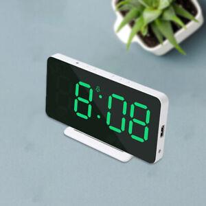 Modern Desk Digital Alarm Clock 2 Alarms USB Rechargeable for Kids Room