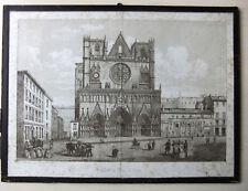 """Gravure sous-verre XIXè """"Lyon Eglise et Place Saint-Jean"""" - primatiale"""