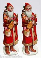 2 uralte geprägte Weihnachtsmann Oblaten 14,5 cm - DIE CUT SCRAPS