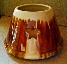 Brown & Cream Drip Glaze Ceramic Candle Shade Topper Capper Star Cut Outs