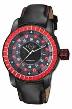 GV2 By Gevril Men's 9306 Lucky 7 Automatic Red Bezel Subdial Black Leather Watch