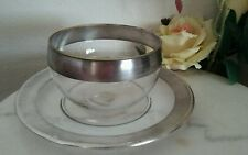 DOROTHY THORPE  Sterling Silver On Crystal Mayonaise Plate & Bowl