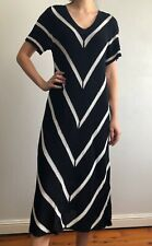 COUNTRY ROAD Black & White Stripe Midi Knit Dress with Inner Slip RRP $200 Sz M