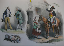 Lithographie ancienne originale par H Bellangé costumes romantisme militaires