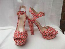 "Kurt Geiger UK 4/37 Red Daisy Print Plateforme Bride Cheville Chaussures 5"" Talons EXC"
