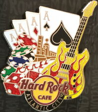 Hard Rock Cafe ATLANTIC CITY 2012 Flaming Guitar 4 Aces, Dice & Chips CORE PIN!