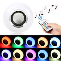 Wireless Bluetooth E27 12W LED RGB Speaker Bulb Light Music Lamp with Remote U