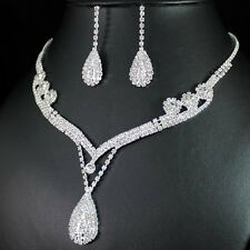 Bridal Wedding Jewelry Set Crystal Rhinestone Diamante Necklace Earrings Silver