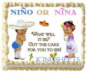 Nino or Nina mexican hispanic Gender Reveal Baby edible cake top Icing boy girl