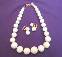 Vintage Monet White Bead Necklace and Earring Demi Parure