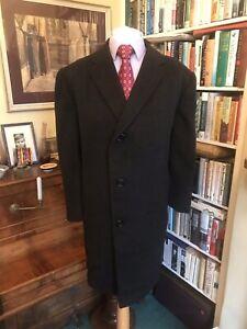 Daks of Jermyn Street Black Wool Overcoat