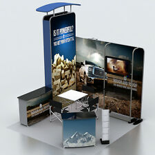 Portable Custom 10ft Fabric Trade Show Display Booth Exhibit Banner System Kits