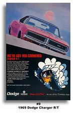 13x19 1969 DODGE CHARGER R/T MOPAR ART AD POSTER 383 440 426 GOT YOU CORNERED