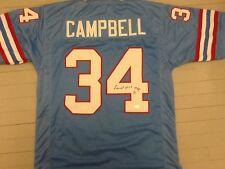 Earl Campbell Autographed/Signed Blue Oilers #34 Jersey JSA COA HOF 91 Inscrip