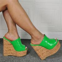 Ladies High Wedge Heels Cork Sandals Mules Platform Open Toe Sllipper Shoes Sexy