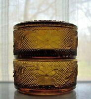 Tiara Indiana Glass Amber Sandwich 2 Tier Trinket Puff Box & Cover