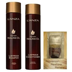 L'Anza Keratin Healing Oil Lustrous Shampoo + Conditioner + FREE Mask Sachet