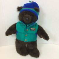 "LL Bean Bear Teal Green Blue Vest Peruvian Hat Stuffed Animal Plush 16"" H"
