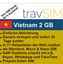 Vietnam Daten SIM Karte 2 GB für 30 Tage Standard/Micro/Nano