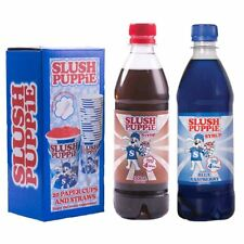 Slush Puppie Blue Raspberry, Cola 500ml Syrup & 20 Cup and Straw Set
