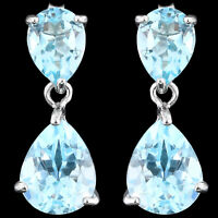 100% NATURAL 10X8MM SKY BLUE TOPAZ GENUINE GEMSTONE STERLING SILVER 925 EARRING