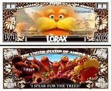 The Lorax Million Dollar Bill Fake Play Funny Money Novelty Note + FREE SLEEVE