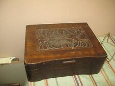 "Vintage Antique Carved Wood Wooden Hinged Box Chest 9.5"" x 12"" x 4.5"""