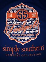 Women's Simply Southern Graphic T-Shirt Sz L  Gameday Collection Blue
