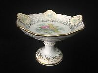 Vintage Handpainted Porcelain Floral w/Gold Rim Footed Compote Candy Dish