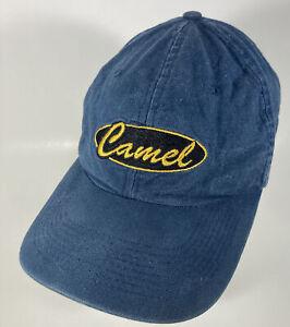 Vtg Camel Hat Cigarettes Stitched Logo Blue Cotton Strapback Distressed Retro