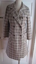Vintage Butte Knit Plaid Button Up Collared Long Maxi Mid Century Blazer Coat 14