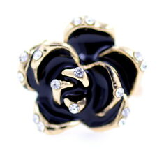 Adjustable vintage style gold and black rose lotus flower ring