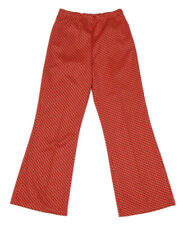 Vintage 1970s Red White Black Jagged Design Brady Bunch Polyester Pants sz S