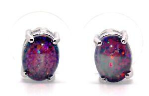 Sterling Black Fire Opal 2.4ct Stud Earrings (925)