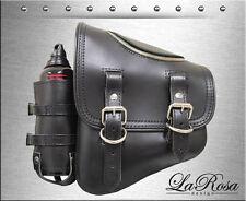 LaRosa Black Leather Harley Softail Rigid Zipper Left Saddlebag + Fuel Bottle