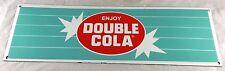 DOUBLE COLA SODA POP RED WHITE TEAL BLUE PORCELAIN ENAMEL ADVERTISING SIGN