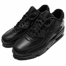 Nike Air Max 90 LTR GS Triple Black Leather Kids Girls Running Shoes 833412-001