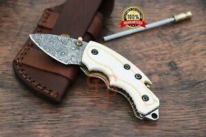 Custom Damascus Steel pocket knife Folding knife German Resin Sheet handle