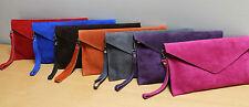 Leather Suede Clutch Bag * Various colours * Detachable wrist strap