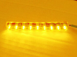 9 LED Strip Amber Aquarium Light Under Water Proof Tank Flexible Submerge