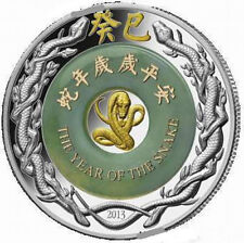 Laos 2013 Year of Snake 2000 Kip Jade 2oz Silver Coin,Proof