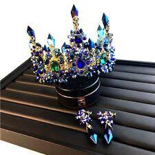 Luxury Wedding Bridal Queen Crown Earring Jewelry Set Baroque Blue Crystal Tiara