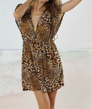 SEXY Leopard DEEP V BEACH BIKINI COVER UP KAFTAN TUNIC DRESS summer swimwear new