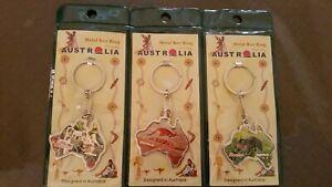 Three Australia koala Kangaroo wombat map design metal keyrings NEW travel