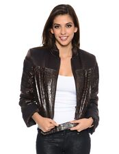 Faux Leather/Fabric Brown Reptile Print Biker Jacket W/Belt. Size Large